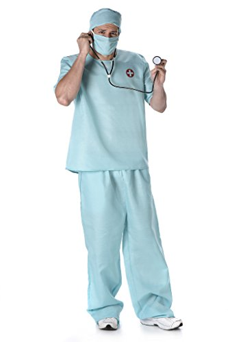 Male Doctor Costume - Scrub Nurse Costume with Stethoscope, Hat, and Mask, Surgeon Costume for Halloween and Costume Dressup (L)