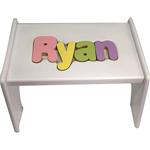 babykidsbargains Personalized Wooden Puzzle Stools- Stool Color: White, Letter Color: Pastel, 9-12 Letters