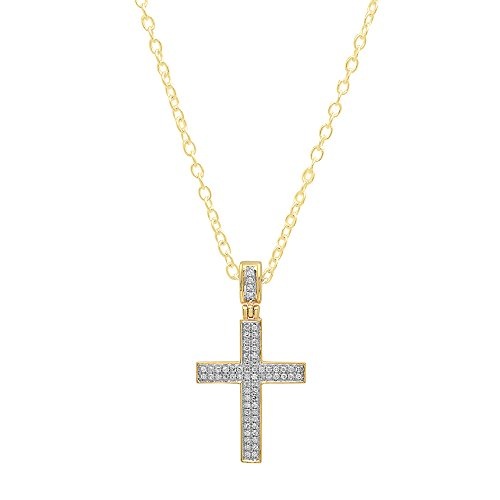 - Dazzlingrock Collection 0.18 Carat (ctw) 10K Round Diamond Men's Hip Hop Cross Pendant (Gold Chain Included), Yellow Gold