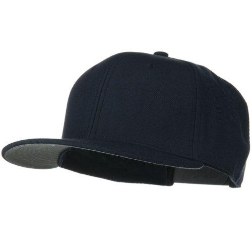 Otto Caps Wool Blend Flat Visor Pro Style Snapback Cap - Navy (Ultrafit Wool Blend Cap)