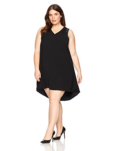 Rebel Wilson X Angels Women's Plus Size Studded Armhole Dress, Black Beauty, 1X Studded Pocket Dress