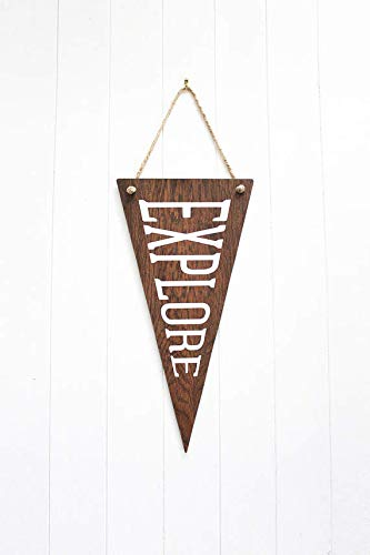 123RoyWarner Explore Wall Sign Wooden Wall Art Wooden Flag Pennant Banner Pennant Flag Wooden Wall Hanging Wall Decoration Nursery Decor for $<!--$13.99-->