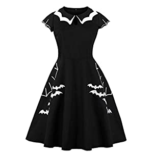 Lealac Women's High Waist Plus Size Bat Spider Web Embroidery Halloween Vintage Dress