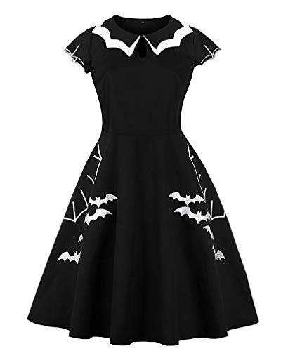 (Lealac Women's Cotton High Waist Plus Size Bat Spider Web Embroidery Halloween Vintage Dress L134-D8092 Black)
