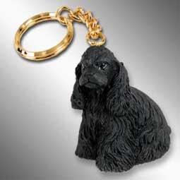 Spaniel Figurine Cocker Black (Cocker Spaniel Dog Keychain - Black)