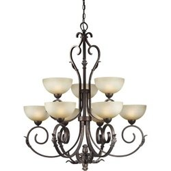 (Forte Lighting 2275-09-27 Hanging 9-Light Chandelier with Umber Mist Glass Shades, Black Cherry)