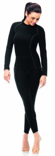 Gwinner Thermo-Funktionsunterwäsche Damen SET, perfect für Winter- und Skisport, Langarm Shirt + Lange Unterhose, ANATOMY I+II Schwarz