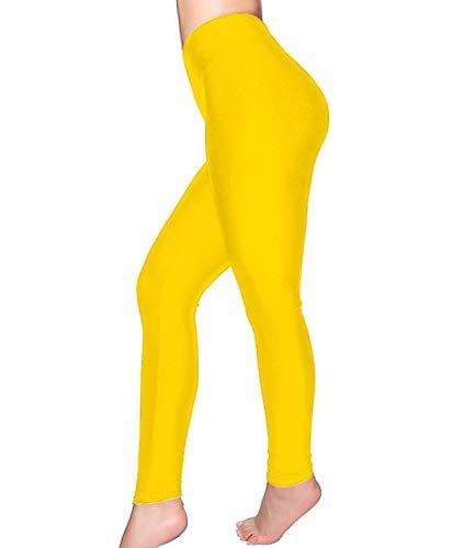 Romastory Women's Stretched Shiny Sports Leggings Elastic Yoga Pants Tights (L, Yellow) ()