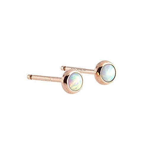 Rose Gold Filled Opal Stone Stud Earrings, RGF-3MM-Opal ()