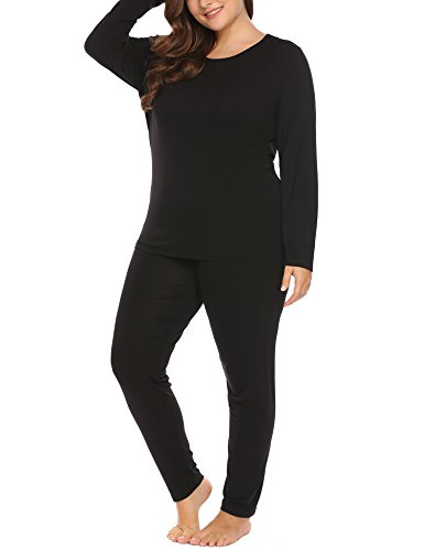 Women's Plus Size Thermal Long Johns Sets 2 Pcs Underwear Top & Bottom Pajama XL-11XL by Vpicuo (Image #1)