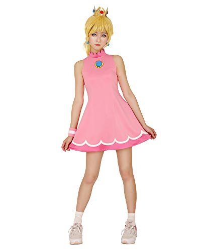 Miccostumes Women's Princess Peach Tennis Dress Cosplay Costume with Crown (M)