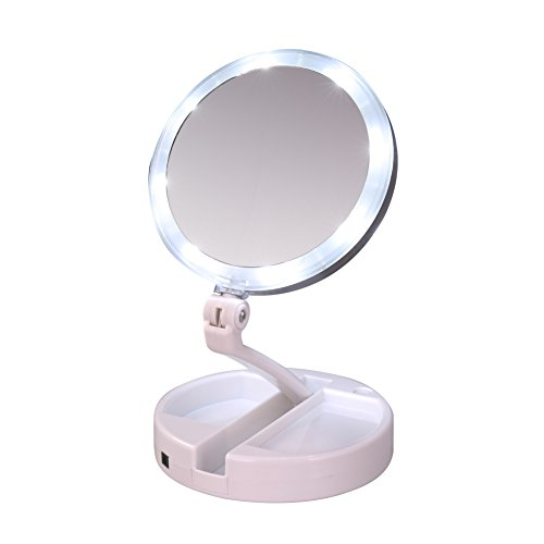 d makeup mirror Double Sided Magnifying Makeup Mirror with 270 Degree Rotation,1x/10x magnification,Battery Operated and USB Power Supply (Lighted Pedestal Mirror)