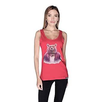 Creo Bear Pug Life Scoop Neck Tank Top For Women - L, Pink