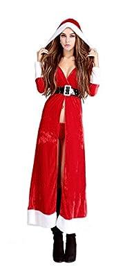 Mumentfienlis Womens Red Hooded Cloak Costume Mrs Santa Claus Costume Christmas Cape