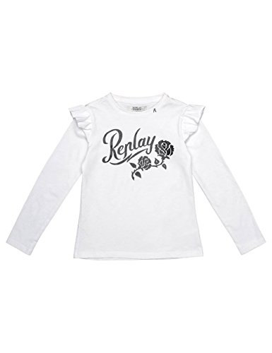 Replay Girls White Longsleeved T-Shirt With Ruffle Detail in Size 10 Years White by Replay