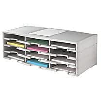 Office Depot Stackable Plastic Literature Organizer, 12 Compartments, Gray, 40401