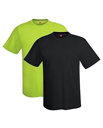 Hanes mens 4 oz. Cool Dri T-Shirt(4820)-Black/Safety Green-2XL ()