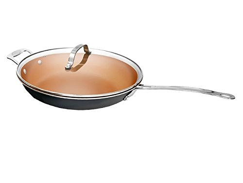 "Gotham Steel Non-stick Titanium and Ceramic 12.5"" Frying Pan with Lid by Daniel Green"