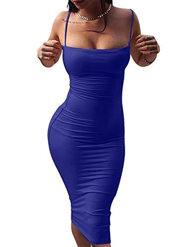 GOBLES Women's Sexy Spaghetti Strap Sleeveless Bodycon Mid Club Dress (M, RoyalBlue)