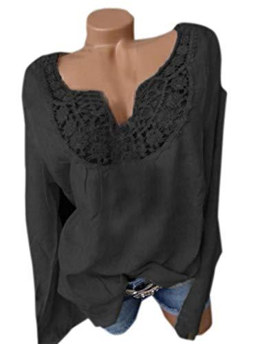 Tee Shirts Casual Manches Blouse Noir Fashion et Chemisiers Longues Femme Haut Printemps T Dentelle Shirts Tops JackenLOVE Automne pissure TXzaq