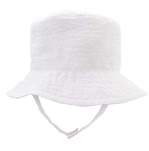 Huggalugs Baby & Toddler Boys White Seersucker Bucket Sun Hat UPF 25+ 12-24