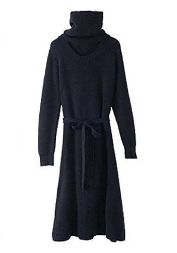 -donne Coolred Autunno Inverno Maglione Cinghie Maglia Midi Casuale Vestito Nero