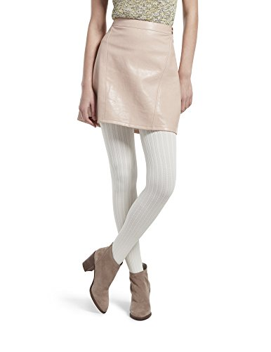 HUE Women's Micro Cable Tights with Control Top, ivory, M/L (Cable Womens Tights)