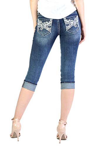 (Grace in LA Jeans Criss Cross Embroidered Easy Fit Capris Medium Wash EC51367)