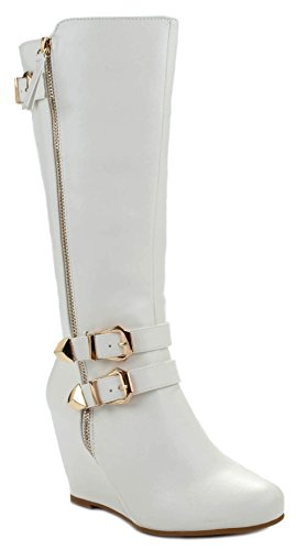 Paola80 White Leatherette Gold Decorative Zipper Buckle Wedge Heel Knee High Dress Boots-5.5