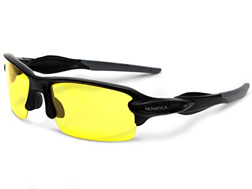 NOVATICA Night Driving Glasses for men women - Anti Glare HD Night Vision - Yellow Semi Polarized TAC Glasses - Yellow TAC Night Vision Glasses for Night Driving - Sturdy TR90 Frame -Premium Hard Case ()