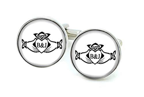 (Claddagh Celtic Cufflinks, Personalized Handcrafted Initials Cufflinks)
