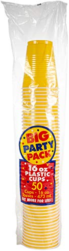 Big Party Pack Sunshine Yellow Plastic Cups | 16 oz. | Pack of 50 | Party Supply