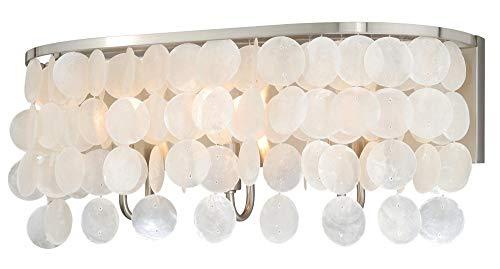 - Vaxcel W0152 Elsa Capiz Shell 3 Light Vanity Light, Satin Nickel Finish