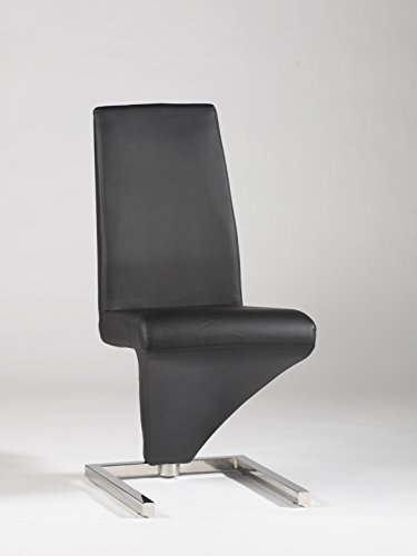 Chintaly Imports Z Frame Upholstered Side Chair, Chrome Black