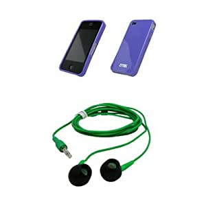 Purple Cover Skin Poly Case + 3.5mm Stereo Green Headphones for AT&T Apple iPhone 4