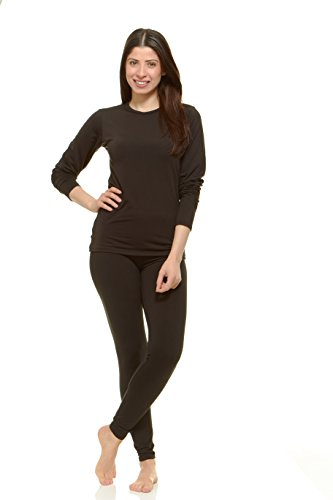 Thermajane Women's Ultra Soft Thermal Underwear Long Johns Set With Fleece Lined (Large, Black) - Fleece Thermal Underwear