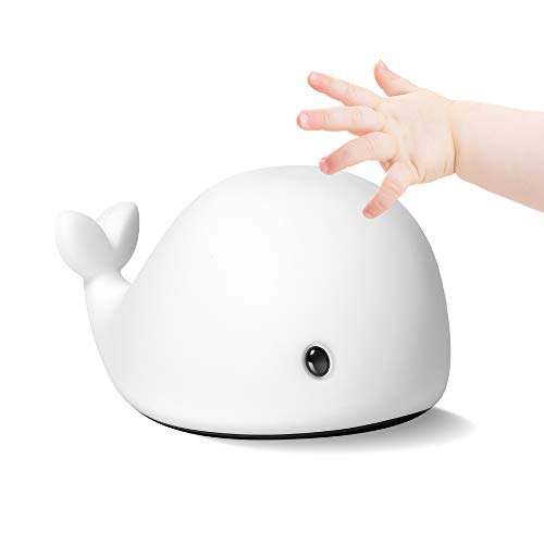 LED Night Lights for Kids, Baby, Adults, Rechargeable Portable USB Powered Whale Nursery Light with Sensitive Touch Control, Silicone Nightlight Lamp with Breathing Light, 6 Colors, Soft, White