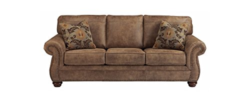 Ashley Furniture Signature Design - Larkinhurst Traditional Sleeper Sofa - Queen Size -  Faux Weathered Leather - Earth