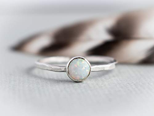 White Opal Rings for women sterling silver, Bridesmaid Gifts, Jewelry Gifts Girls, Opal Ring Lab Made in Your Size