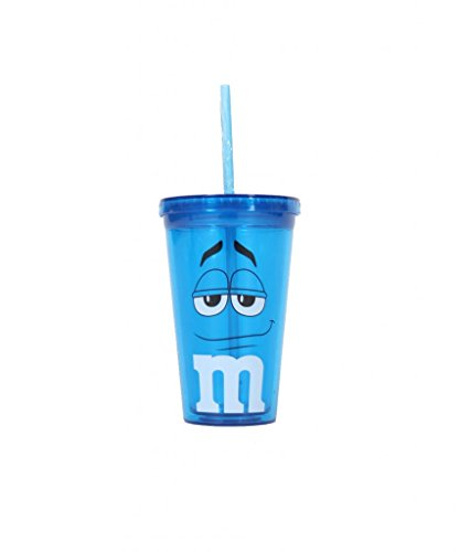 M&M's Candy Character Face Blue Tumbler Cup and Lid (Blue)