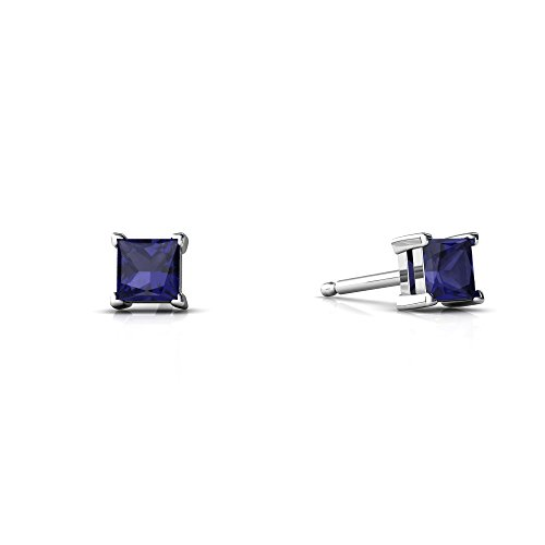 14kt White Gold Sapphire 3mm Square Princess Cut Stud Earrings ()