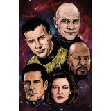 """Star Trek Captains !!LIMITED EDITION PRINT 11"""" By 17"""" THE ART OF OLD SCHOOL approved Dealer"""