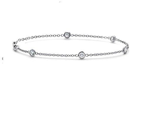 .25 CTW Genuine Diamond by the Yard Bracelet in 14k White Gold, (0.25 Ct Diamond Bracelet)