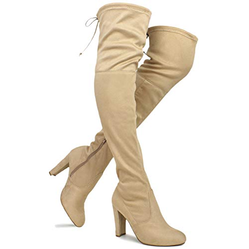 Premier Standard Women's Over The Knee Boot - Sexy Over The Knee Pullon Boot - Trendy Low Block Heel Shoe - Comfortable Easy Heel Boot, TPS Amaya-01 v2 Natural Size 8 -