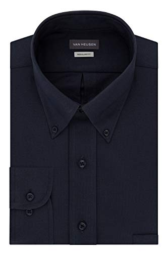 Van Heusen Men's Regular Fit Oxford Button Down Collar Dress Shirt, Navy, 4X-Large