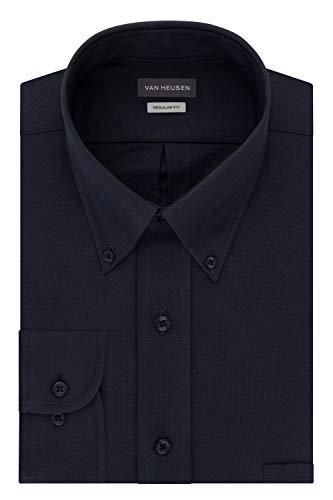 Van Heusen Men's Regular Fit Oxford Button Down Collar Dress Shirt, Navy, Large (Navy Dress With White Collar And Cuffs)