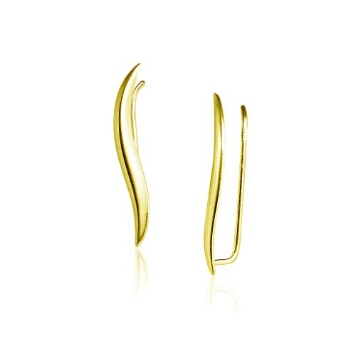 Sterling Silver Wave Climber Earrings Lightweight Hypoallergenic Yellow Gold Flashed Finish