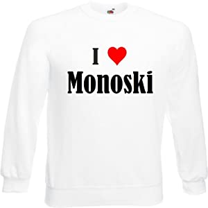 Sweatshirt DamenI Love MonoskiGröße2XLFarbeWeissDruckSchwarz