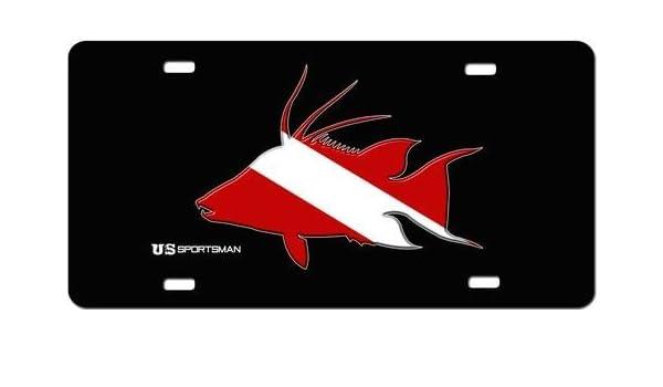 US Sportsman Hogfish Dive Flag License Plate