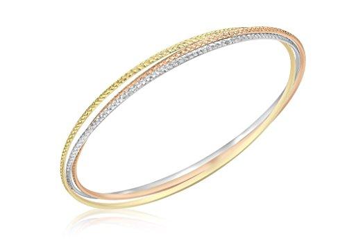 Bracelet 3Couleurs fin coupe Diamant Or 9carats Russe